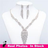 Wholesale Luxury Tassel Necklace Drop Earrings Silver Rhinestone Crystal Women Bridal Bridesmaid Jewelry Set Wedding Jewellery Sets Cheap