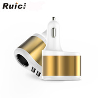 car cigarette lighter power adapter - 2016 new Ruici Dual USB port car charger metel cigarette lighter socket splitter A car chargers Power adapter for iphone s s Samsung