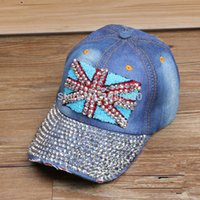 baseball caps uk - women blue bling Rhinestone Diamond Union Jack England UK flag denim baseball caps