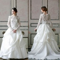 Wholesale Graceful Ball Gown Long Sleeves Lace Wedding Dresses Appliques Beaded Crystal Bride Gowns Bateau Neck Ruffles Chiffon Skirt Sweep Train