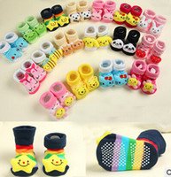 Wholesale Newborn anti slip floor socks baby fashion cotton socks lovely booties infant slipper socks pair