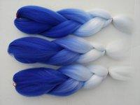 Wholesale 5Pcs Inch Ombre Braiding Hair Hair G Dark Blue white Ombre Jumbo Hair Braid Synthetic Braiding Hair free ship