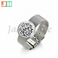 perfume set - Newest design fashion watch strap style bracelet silver color Essential Oil Diffuser Perfume locket bracelet mm Round Aromatherapy locket