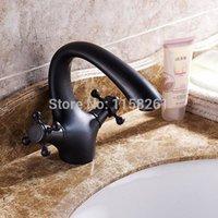 antique crocks - Oil rubbed Bronze Dual handle Swan Spout vessel Antique black Bathroom Basin Faucet Mixer crocks hansgrohe torneira SY R