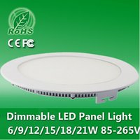 Wholesale 1X High Brightness Ultra Thin W W W W W W Dimmable LED Ceiling Round Panel Light Recessed Slim Downlight V V CE ROHS