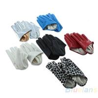 Wholesale Hot Sale Sexy and The City Faux Leather Women s Five Finger Half Palm Gloves Colors Leopard AJ IG