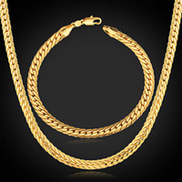Wholesale Fashion zinc alloy plated K gold twist chain necklace bracelet jewelry sets for men and women SBN00086