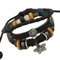 Wholesale YL Trendy Multilayer Warp Bracelets Genuine Cow Leather Star Braclets For Male Femme Party Gift Biker Mens Punk Jewellery
