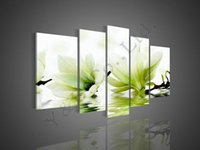 Wholesale 100 Hand Painted High Quality Green Abstract P Camellia Flower Decor Oil Painting On Canvas Home Wall Modern For Living Room