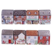 Wholesale Mini Cute European Style Full Painted Small House Shape Tin Storage Box Jewelry