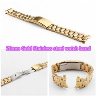 Wholesale new Free shippping Gold solid stainless steel watch band mm watch band Strap bracelet Watch Accessories strap mm dropship
