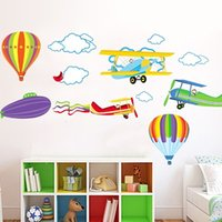 airplane cartoons - 2016 Cartoon Airplane and Hot Air Balloons Removable Wall sticker Vinyl Decals For Kids Room Boys Home Decoration Mural