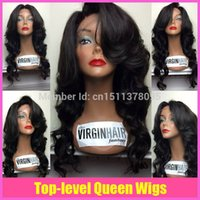 Wholesale 2014 new Hotselling loose wave glueless full lace wig front lace wig brazilian virgin hair with baby hair for black women