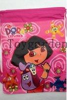 Cheap 2-6 Ages Kids Dora Drawstring School Bag Child Cartoon Doc\Dora Backpack Girls And Boys Birthday Party Souvenir Gift 12pcs