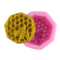 Silicone bee hive tool - 3D Fondant Chocolate Mold Cute Bee Hive Shape Silicone Cake Mold DIY Handmade Soap Mold Candy Cake Craft cake Baking Tool M