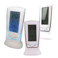 Wholesale Modern Unique phone Calendar Thermometer Backlight LED Screen Digital Alarm Clock Desktop Clock PTSP