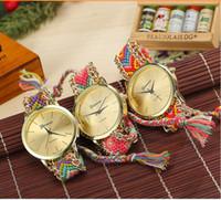 auto glass specials - 2015 DHL Geneva DIY Weave Dress Watch Handmade Braided Bracelet Quartz Wrist Watch for Girls Women Fashion Special National Wristwatches NEW