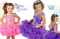 band cold - 2016 Ritzee Girls B743 Pageant Dresses Princess Crystal Ball Gown Cold Shoulder Sleeves Ruched Band Cupcake KR Little Girl Party Gowns