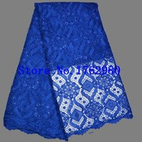 Cheap New Arrivals high quality african cord lace sequins,Beauty Flowers blue color stretch lace fabric for wedding dresses