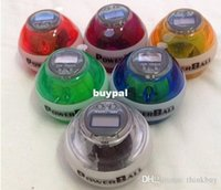Wholesale Good quality New PowerBall Gyroscope LED Wrist Strengthener Ball SPEED METER Power Grip Ball Power Ball colors pcsA1A