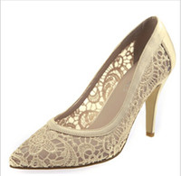 Wholesale 2014 new women cutout satin fabric high heel sexy lace wedding shoes shallow mouth pointed toe genuine leather bride pumps