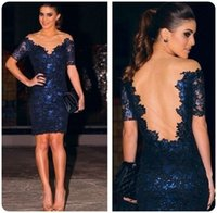 Wholesale 2015 Sexy Backless Lace Evening Prom Dresses Short Sleeves Sheer Neck Blue Sheath Cocktail Party Celebrity Runway Gowns Women In Stock LF
