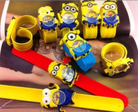 watch slap - New Silicone Slap Boy Girls Wristwatch Despicable Me Kids Yellow Minion Watch Children D Cartoon watches Mini Order Piece MYF235
