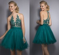 Wholesale Lovely Dark Green Party Cocktail Dresses with Backless A Line Crew Appliques Ruffled Short Mini Prom Pageant Gowns Dresses for Women