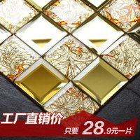 Wholesale Jasmine gold mirror glass mosaic puzzle Continental tiled living room TV backdrop Bar Counters