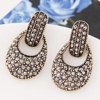 antique crystal earrings - Elegant Fashion Jewelry All Match Luxury Metal Full Crystal Antique Geometric Hollow Stud Earrings For Women