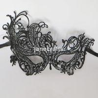 Wholesale 10pcs Masquerade Prom Dance Masks Vintage Swan Cutout Hollow Lace Eye Mask Black