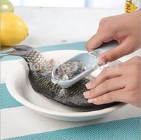 Wholesale fish scale scraper fish cleaning skin brush picks with base cover cooking Seafood tool healthful kitchen necessary