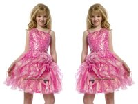 girls knee length pageant dresses - 2015 Sequins Pre Teen Short Full Beading Pink Girls Pageant Dresses Pleat Knee Length Little Kids Big Girls Party Gowns