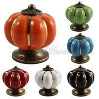 Wholesale Pumpkin Knobs Ceramic Door Kitchen Cabinet Cupboard Handles Pull Drawer mm SLS