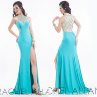 Wholesale Custom Made Cheap Gossip Girl Prom Dress Sexy Side Silt hunter See Through Backless Sheer Neck Sheath Evening Gowns with Blink Rhinestones