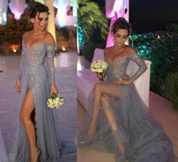 Wholesale Mermaid V Neck Evening Gown Tulle Sexy Side Split Formal Dresses Popular Custom Made Off Shoulder Long Sleeve See Through Lace Low Back
