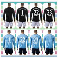 Wholesale New Product Uniforms Kit Bayer Munich Goalkeeper NEUER STARKE REINA Black Blue Long Sleeve Soccer Jerseys