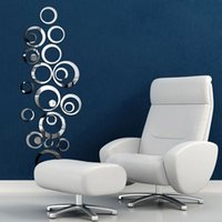 Wholesale Fashion Home Decoration New Circles Mirror Style Removable Decal Vinyl Art Wall Sticker Home Decor Stickers Anne