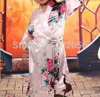 Wholesale girls royan silk Robe Satin Pajama gown Peacock Lingerie Sleepwear Kimono Bath Gown pjs Nightgown colors