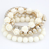 Charm Bracelets acrylic flower bead - 2015 Hottest New Arrival Fashion Cute Summer Beads Flower Bracelet Jewelry For Women colors available