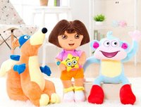 wholesale dora - 20pcs Dora the Explorer Plush Dolls Toy DORA Boots Monkey Fox Stuffed Plush Doll Styles Children Birthday Gifts