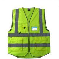 Wholesale Pockets High Visibility Adult Traffic Reflective Safety Vest Sanitation Worker Reflective Vests Fishing