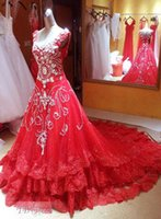 rhinestone applique - Straps Rhinestone Beading Applique Wedding Dress Backless Wedding Dresses A Line Beads Sweetheat Chapel Train Luxury Red Bridal Gowns