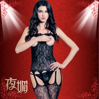 Wholesale Perspective Erwear for Girls Transparent Open Fork Exposed Breast Body Stockings Fishnet Tights Adult Sex Products Sexy Lingerie Wear