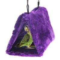Wholesale LS4G Purple Bird Parrot Budgie Nest Shed Fluffy Warm Suspended Hut Toy S Size