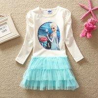 Cheap Frozen Dress Cartoon Dress Princess Sleeve Dresses Girls Dress Children Clothing Wholesale
