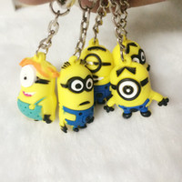 Wholesale 3 cm Types D Despicable Me Minion Action Figure Keychain Keyring Key Ring Cute Promotion Gifts Card Package