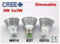 Wholesale LED spot light lamp Dimmable MR16 GU5 GU10 V V V W W W CREE High power LED COB Spotlight LED downlight blub