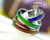 Wholesale 4mm mm mix size fashion mood ring changing colors stainless steel