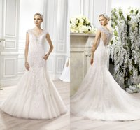 Wholesale 2015 Fall Moonlight Couture Mermaid Wedding Dresses V Neck Cap Sleeve Fit and Flare Beaded Lace Appliques Court Train Tulle Bridal Dress